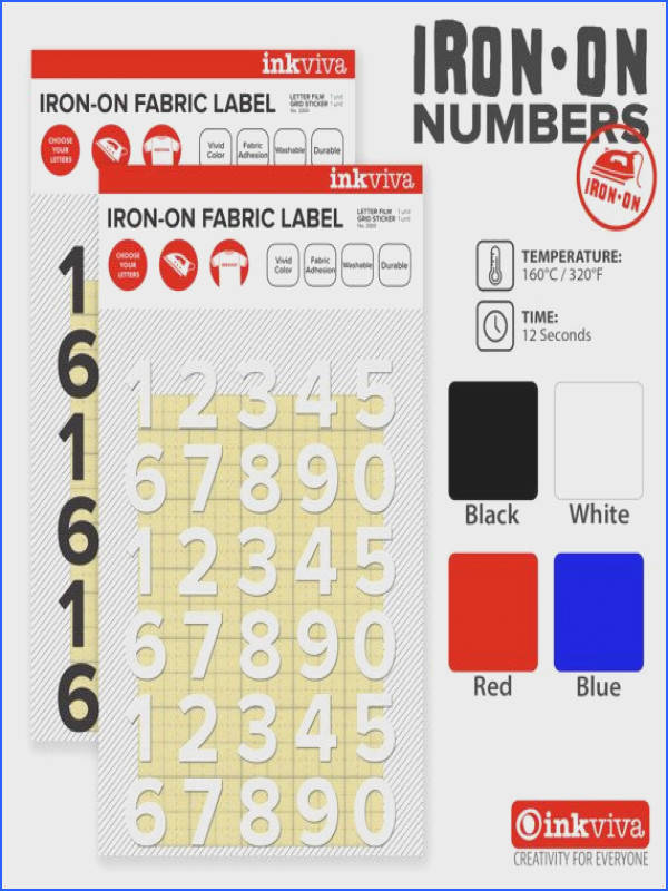 Personalized Iron Numbers Jersey Custom Iron Number Decal Label Hot Fix Fabric Appliqué Half Inch 12mm Heat TransferIrons