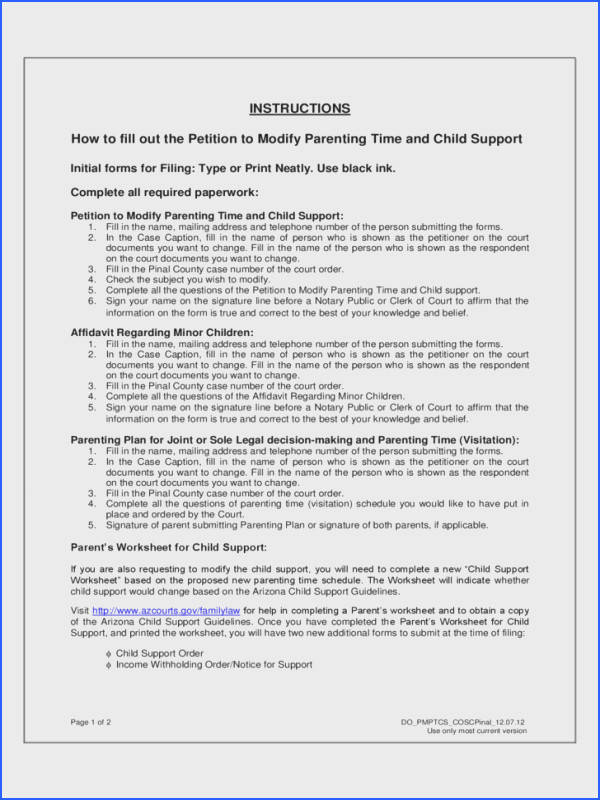 6 Petition to Modify Parenting Time and Child Support Arizona