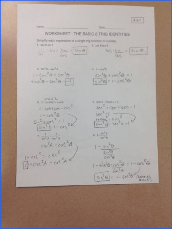Solutions to p 2 of today s ws The basic 8 trig identities