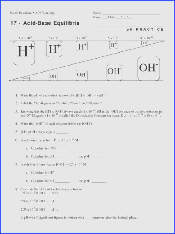 Ph And Poh Calculations Worksheet Answers