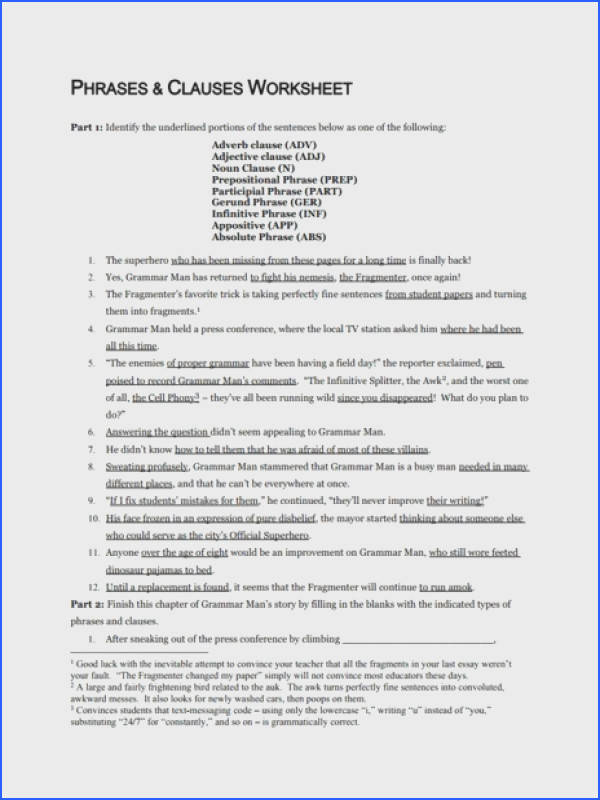 Phrases and Clauses Worksheet Worksheet for 7th 12th Grade