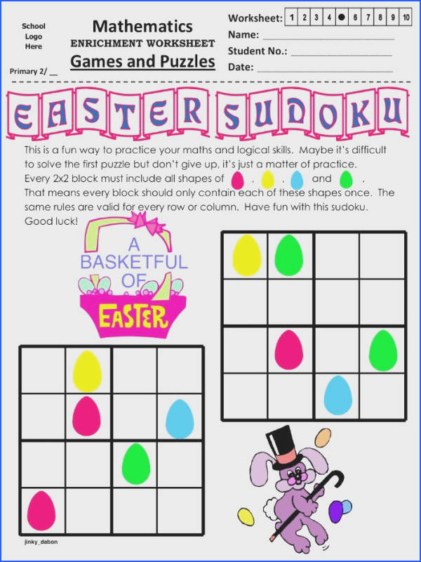 Excellent way for children to develop their logic skills while having fun hunting eggs in Easter No maths is needed to plete the puzzles