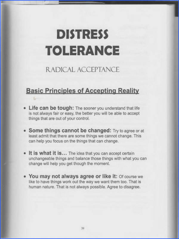 The Art of Dialectical Behavior Therapy Distress Tolerance Radical Acceptance