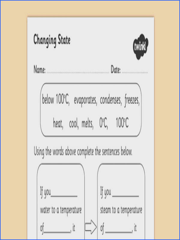 Science Changing Materials Worksheets Page 1