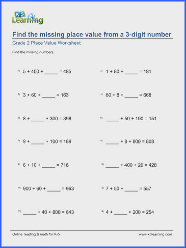 Place Value Worksheets Enchanted