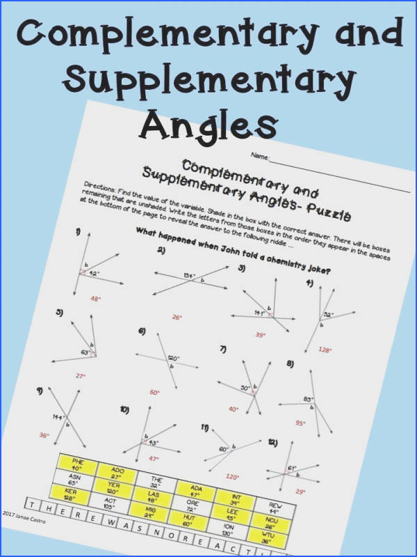 plementary and supplementary angles puzzle worksheet for high school geometry or algebra class Angles activity