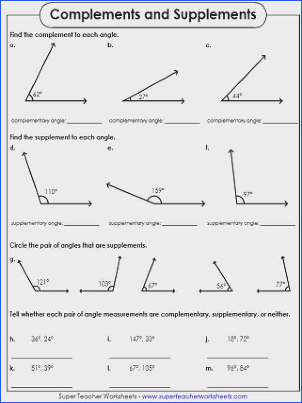 Plementary and Supplementary Angles Worksheet Plementary and Image Below Complementary and Supplementary Angles Worksheet