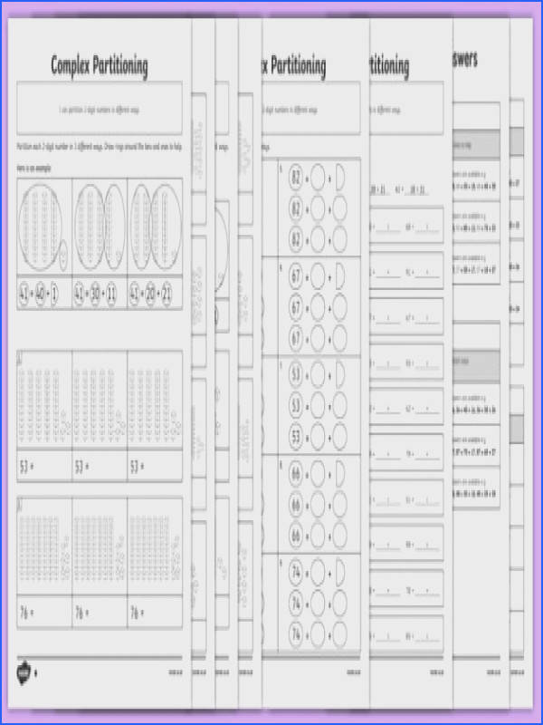 plex Partitioning of 2 Digit Numbers Differentiated Worksheet Activity Sheet Pack worksheet