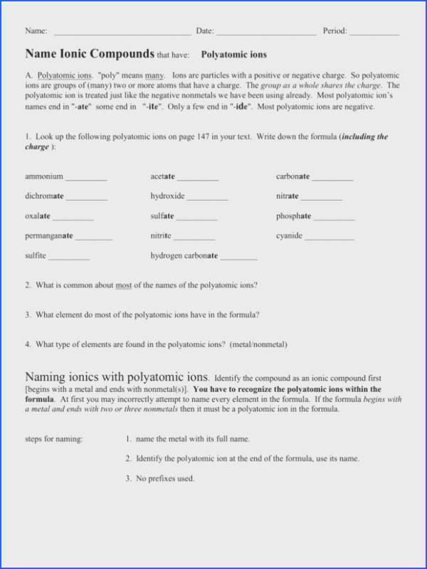 Polyatomic Ions Worksheet Naming pounds With Polyatomic Ions Worksheet Answers Quizlet 1 Fdac4c1ad099b5e ef