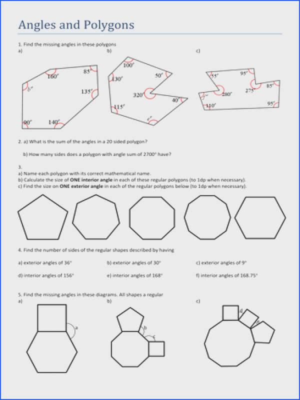Formidable Polygons Angles Worksheets With Additional Angles And Polygons By Tristanjones Teaching Resources Tes of