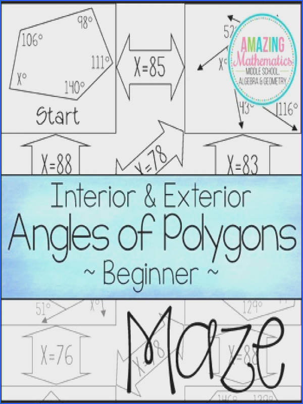 Amusing Polygons Angles Worksheets About Interior Exterior Angles Polygons Maze Beginner By Amazing of