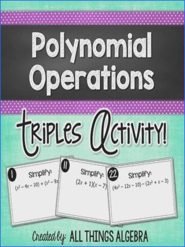 Polynomial Operations Add Subtract Multiply Triples Activity