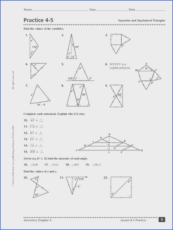 Practice 4 5 Isosceles and Equilateral Triangles Worksheet for 10th 12th Grade