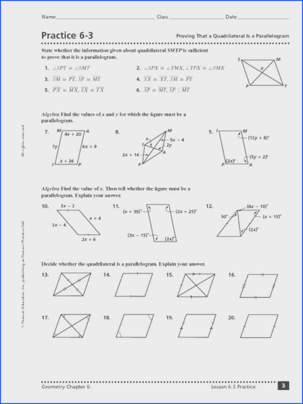 Practice 6 3 Proving That a Quadrilateral is a Parallelogram Worksheet for 10th 12th Grade