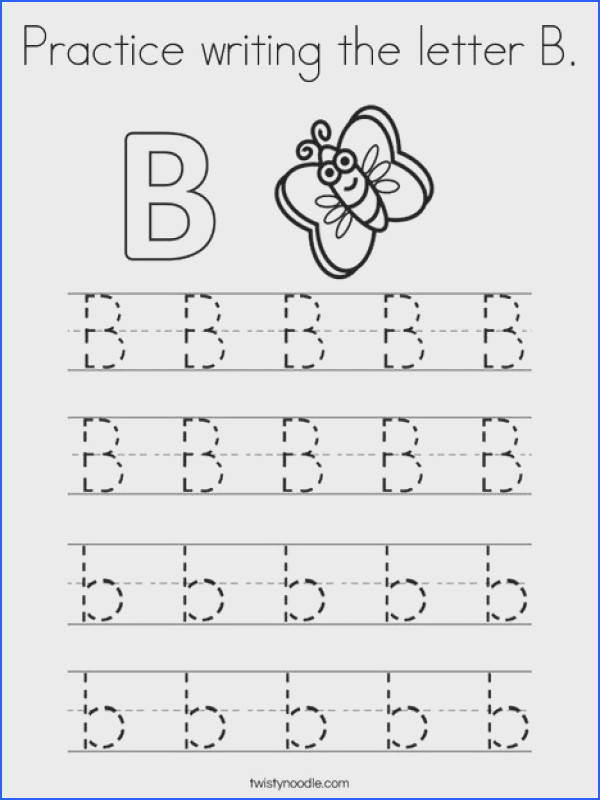 Practice writing the letter B Coloring Page Twisty Noodle