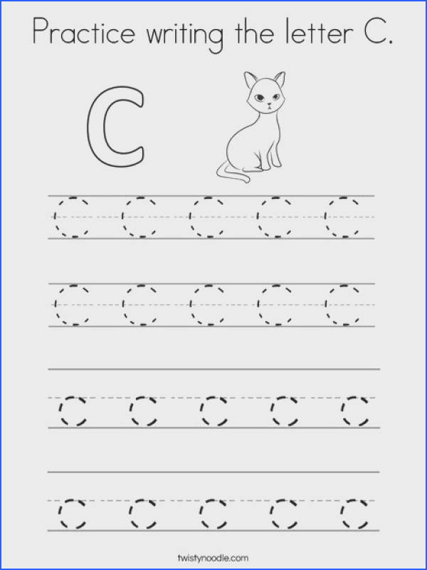 Practice writing the letter C Coloring Page Tracing Twisty Noodle
