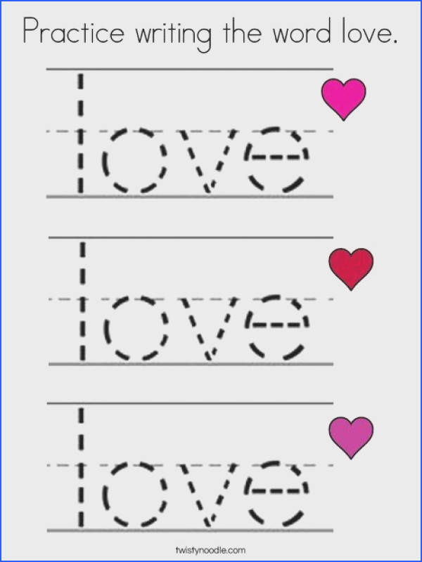 Practice writing the word love Coloring Page Twisty Noodle