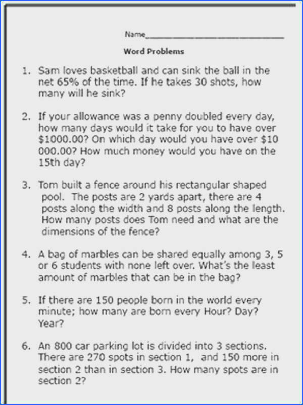 Practice Your Math Skills With These 7th Grade Word Problems Questions Worksheet 2