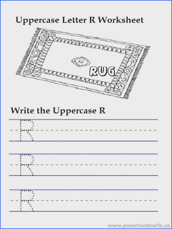 Pre K Handwriting Worksheets Awesome Uppercase Letter R Writing Worksheets is for Rug 1st Grade s