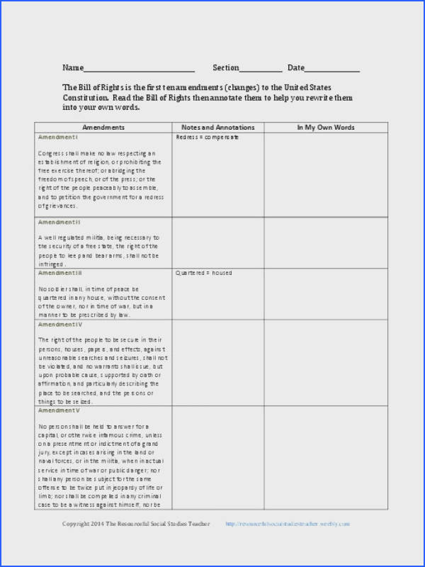 U S Constitution Preamble and Bill of Rights Worksheets