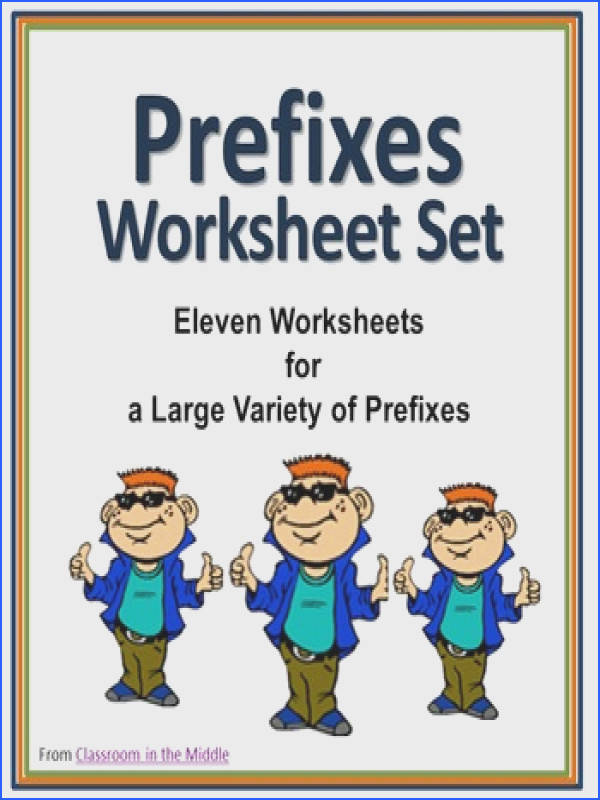 Prefixes Worksheet Set Practice worksheets for lots of prefixes see the listing for a