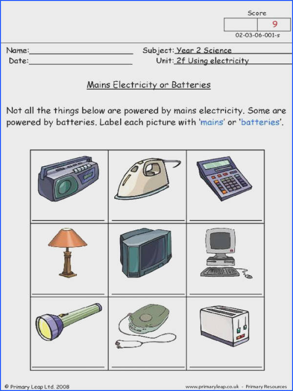 PrimaryLeap Mains electricity or batteries Worksheet