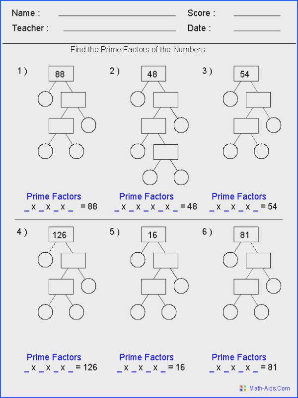 Prime Factorization Trees Factors Worksheets Use for homework or in class assignment