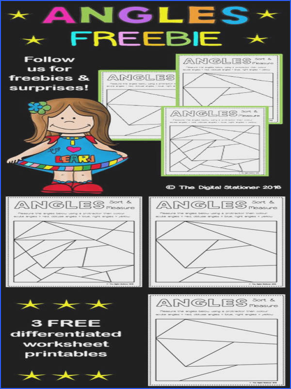 Print and Go Color by Angle Protractor Activity MON CORE ALIGNED 4 MD 6 math Pinterest