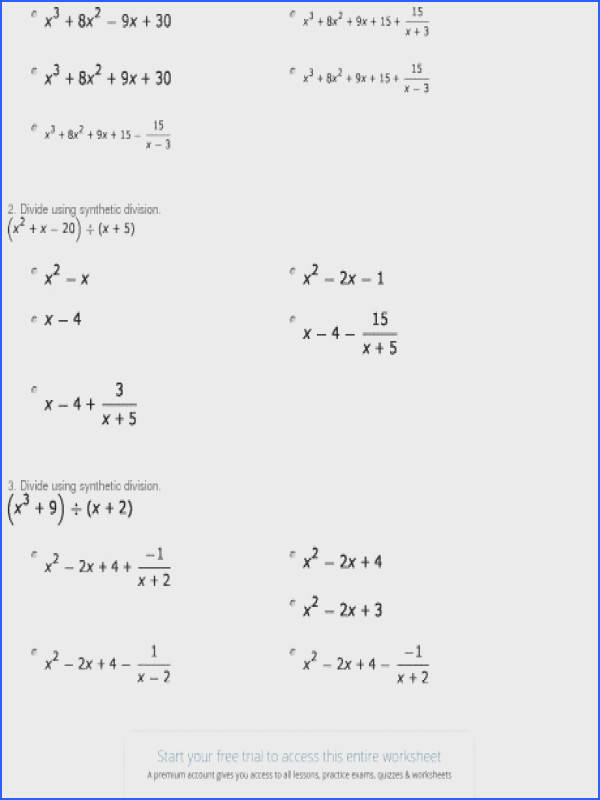 quiz worksheet synthetic division of polynomials study worksheets with an a part of under Math