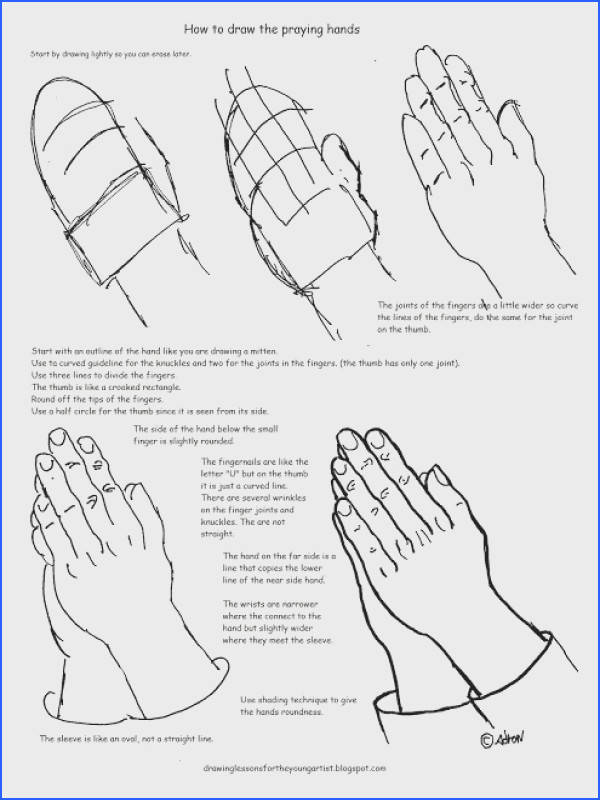 Printable How To Draw Praying Hands Worksheet and Lesson