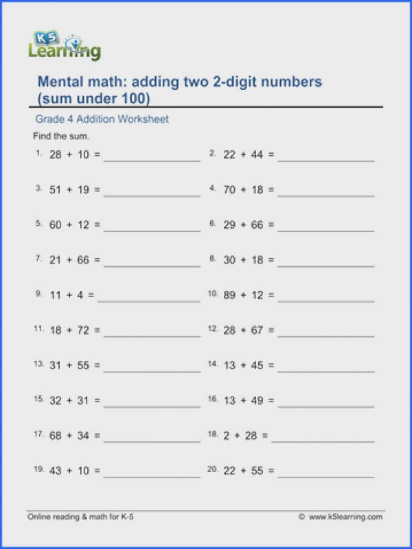 grade 4 math worksheet addition adding two 2 digit numbers sum rh k5learning printable math worksheets grade 6 printable math worksheets grade 7