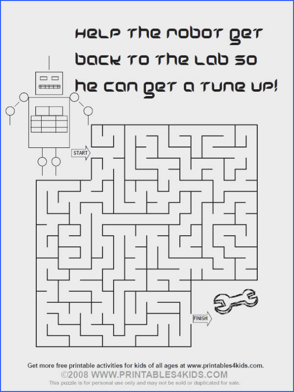 printable robot maze Printables for Kids – free word search puzzles coloring pages
