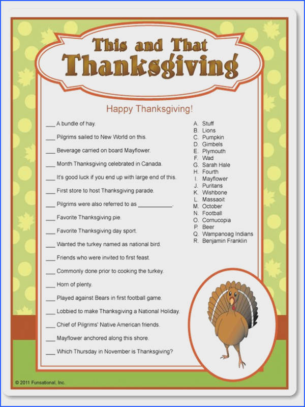 Printable This & That Thanksgiving Trivia Funsational More