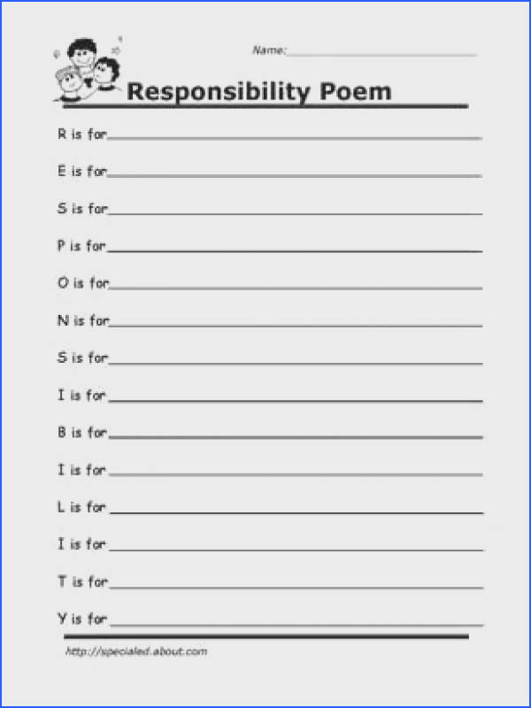 Printable Worksheets for Kids to Help Build Their Social Skills Responsibility Poem