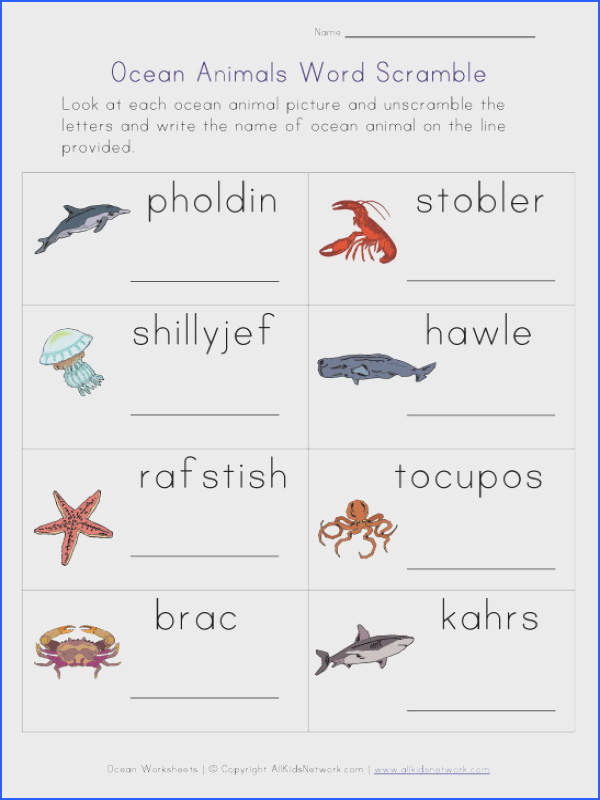 Ocean Animals Worksheet This collection of free worksheets includes lots of fun educational activities including this ocean animal word scramble