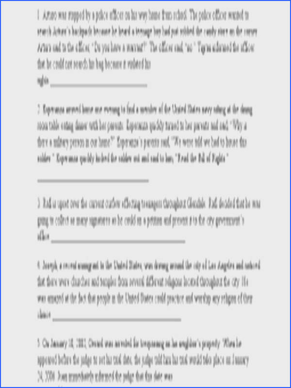 Interpreting the bill of rights worksheet plustheapp answers