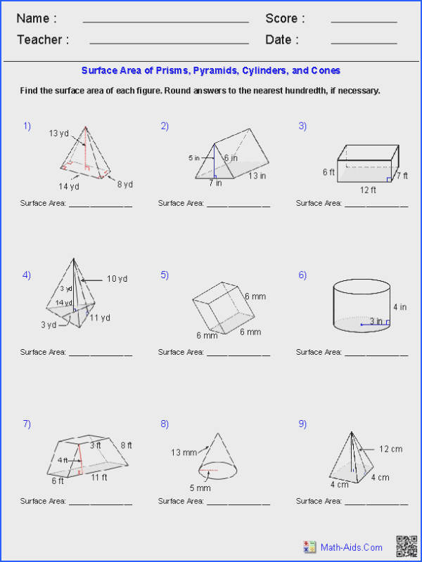 Prisms Pyramids Cylinders & Cones Surface Area Worksheets
