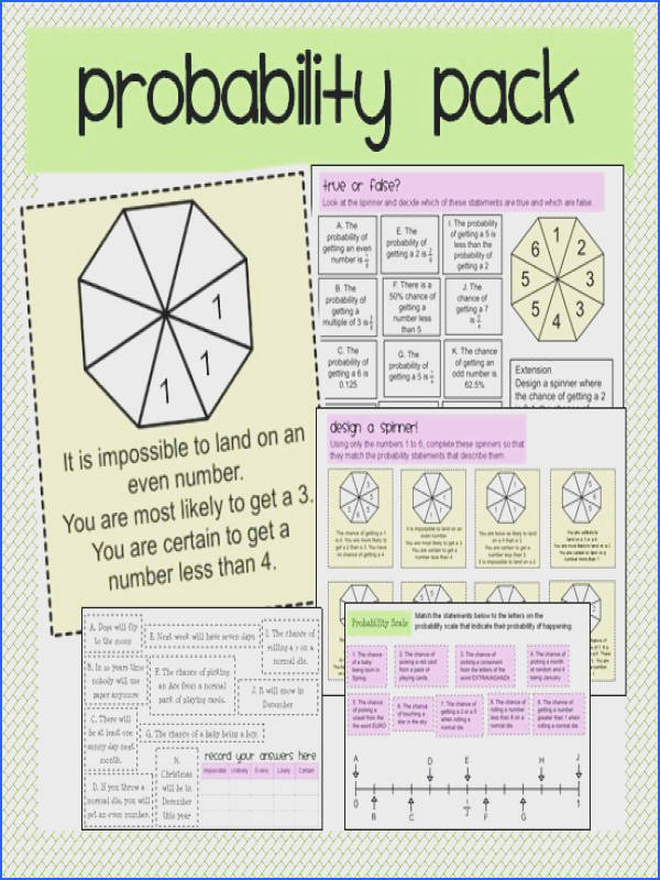 Probability & More Probability A set of four activities to introduce probability in words