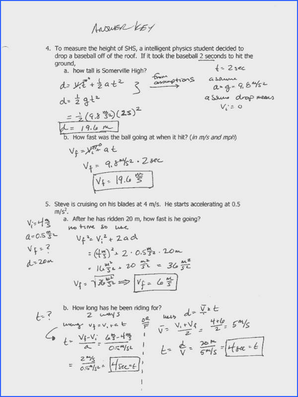 Projectile Motion Worksheet with Answers Worksheets for All Image Below Projectile Motion Worksheet Answers