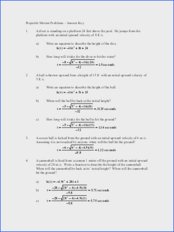 """Projectile Motion Problems ¢€"""" Answer Key 1 A diver is standing on"""