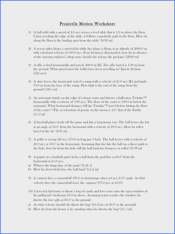 Projectile worksheet Projectile Motion Worksheet1 A ball rolls with a speed of 2 0 m s across