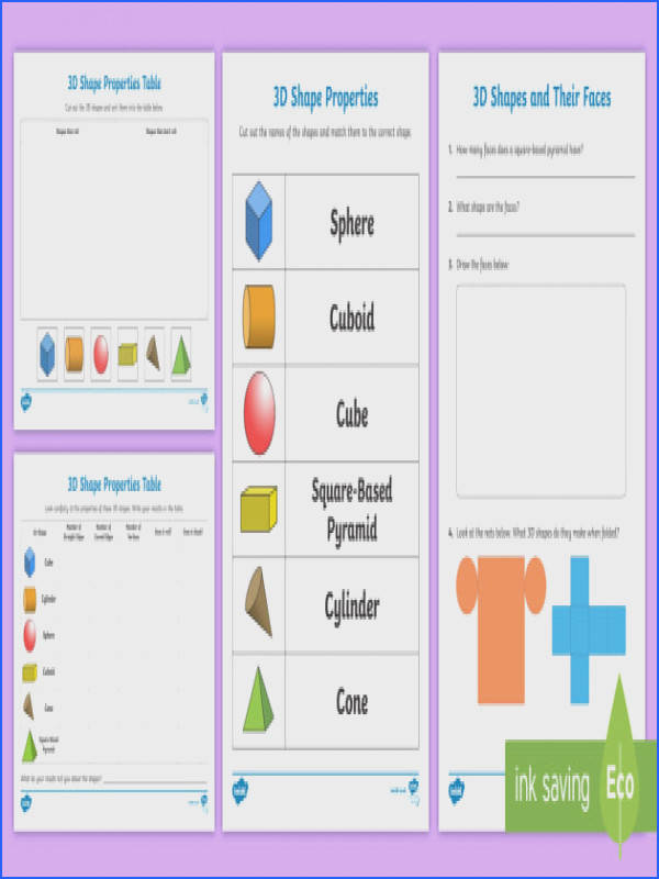 Properties 3D Shapes Worksheet Activity Sheets 3d shapes activity worksheet