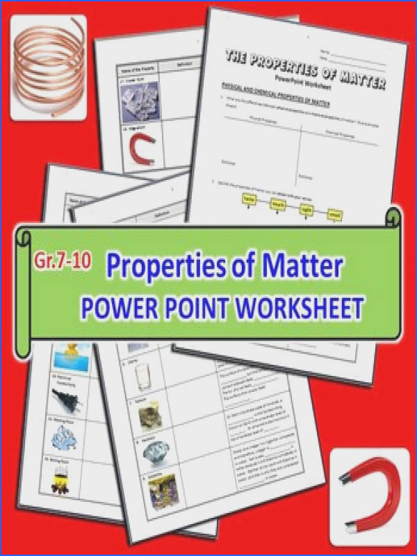 Properties of Matter PowerPoint Worksheet Editable