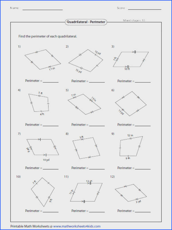 Based on the properties of quadrilaterals find the perimeter of each figure Quadrilateral Worksheets
