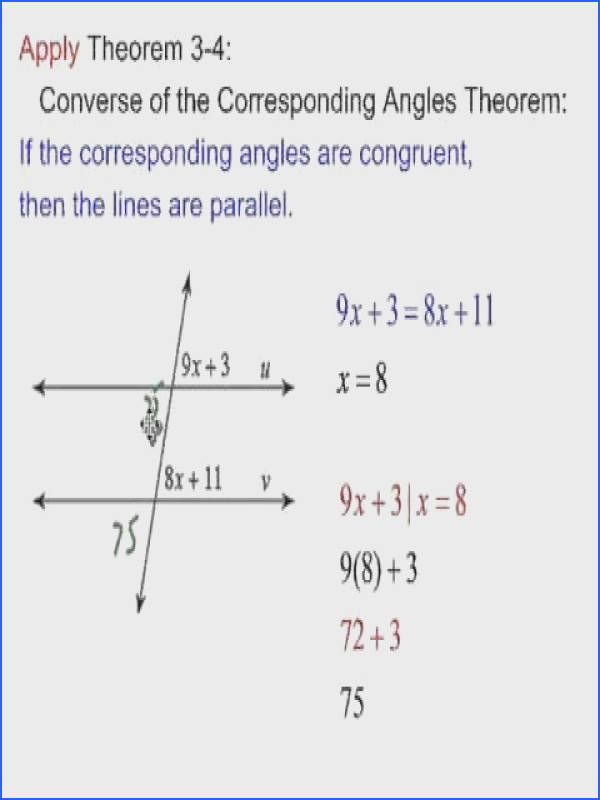 Proving Lines Are Parallel Worksheet