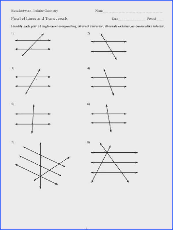 3 Parallel Lines and Transversals Kuta Software