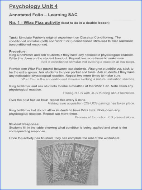 Classical conditioning folio task Wizz Fizz experiment task sheet