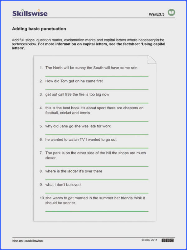 Punctuation worksheet preview