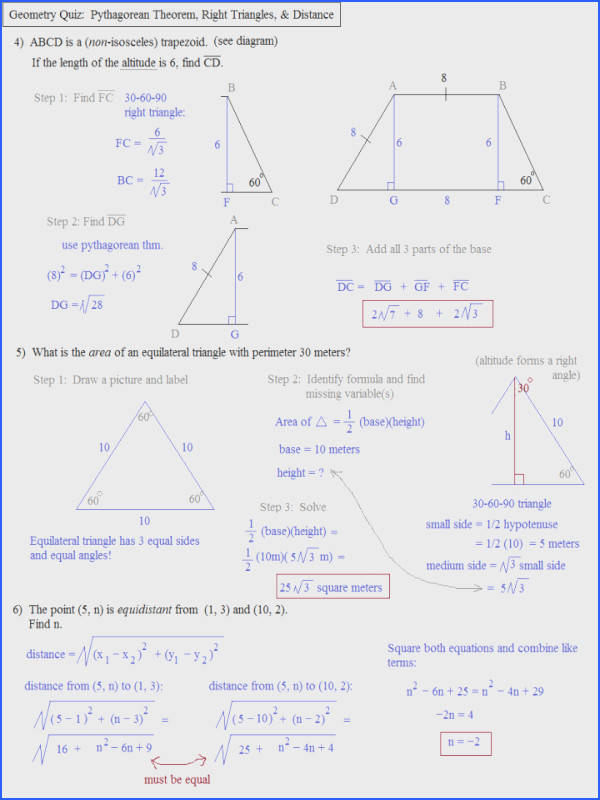 Pythagorean Theorem Application Worksheet Free Worksheets Libraryh Geometry Applications Quiz 2 Solutions