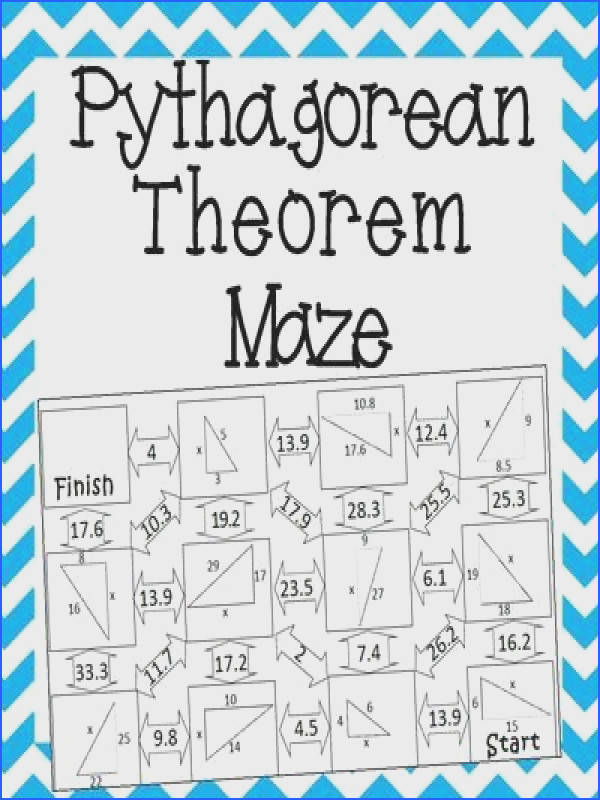 This self checking maze has 11 problems involving the Pythagorean Theorem Students will be required to use the Pythagorean Theorem to solve for the missing